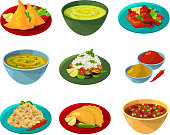 Vector pictures of indian national cuisine. Traditional asian india dinner illustration