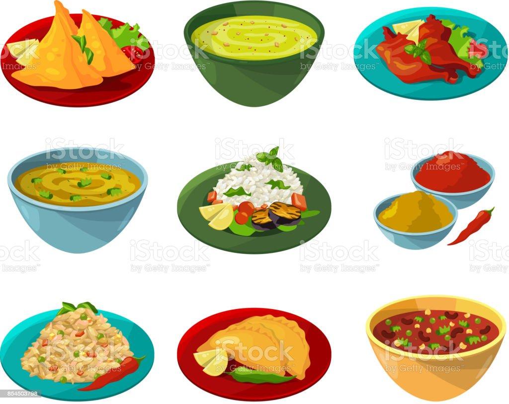 Photos de vecteur de la cuisine nationale indienne - Illustration vectorielle