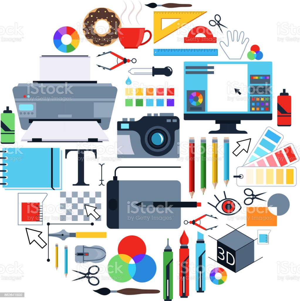 Vector Pictures Of Tools For Graphic Designers Icons Set In Circle Shape Royalty Free