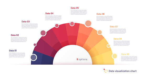 Vector pie chart infographic template in the form of semicircle divided by nine parts.