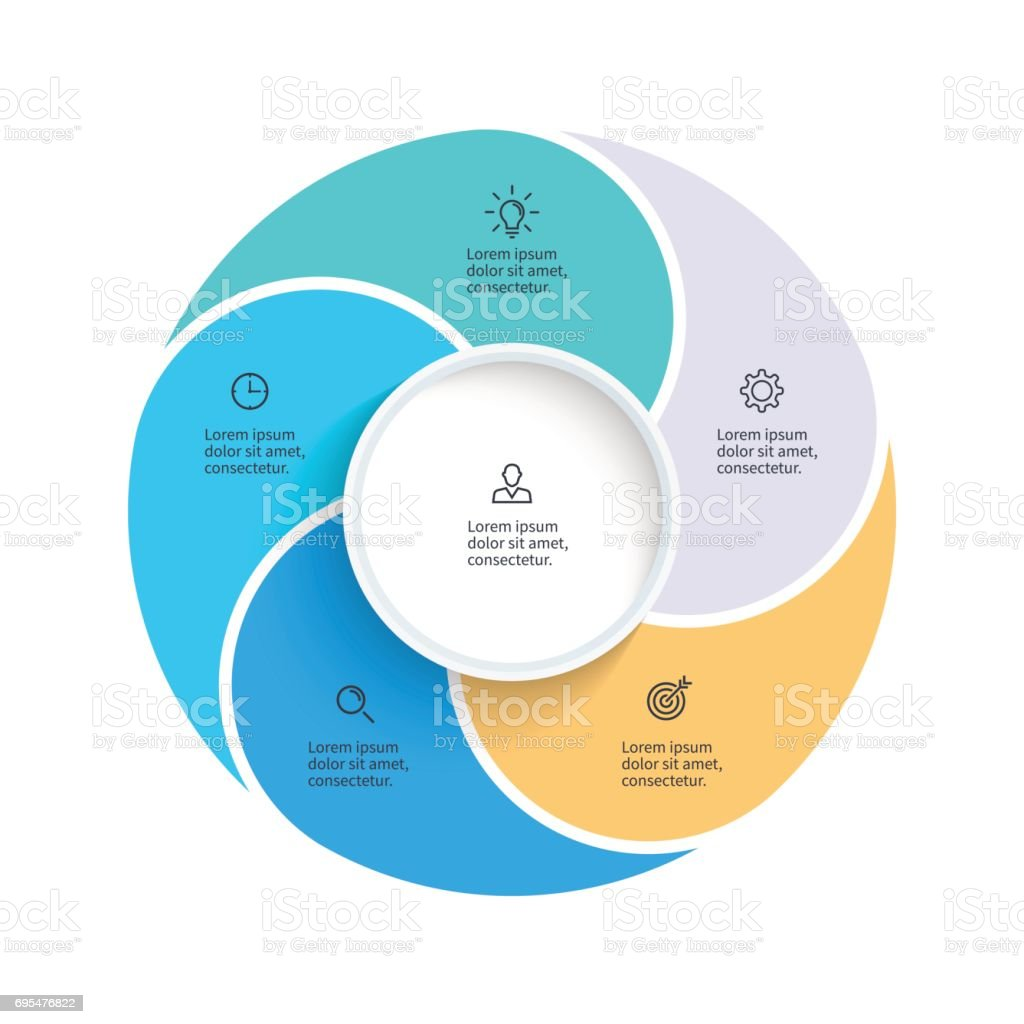 Vector pie chart presentation template with 5 steps options vector pie chart presentation template with 5 steps options sections royalty nvjuhfo Images