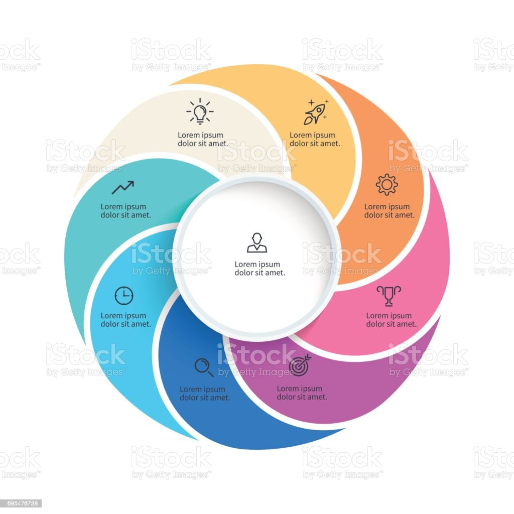 vector pie chart presentation template with 8 steps options sections