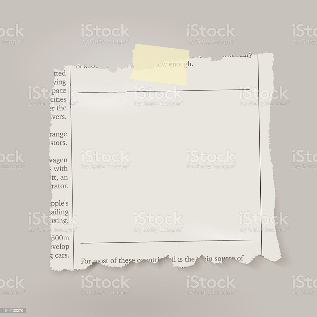 Vector piece of newspaper with adhesive tape. vector art illustration