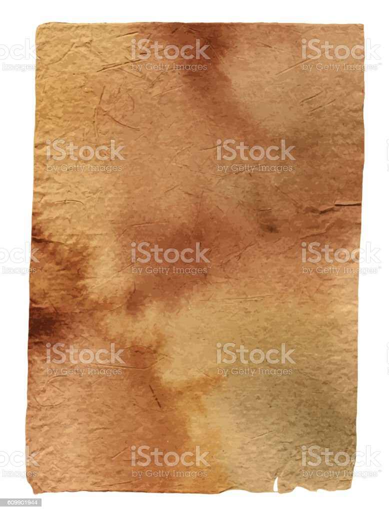 Vector piece of old brown parchment paper, toned with watercolor vector art illustration