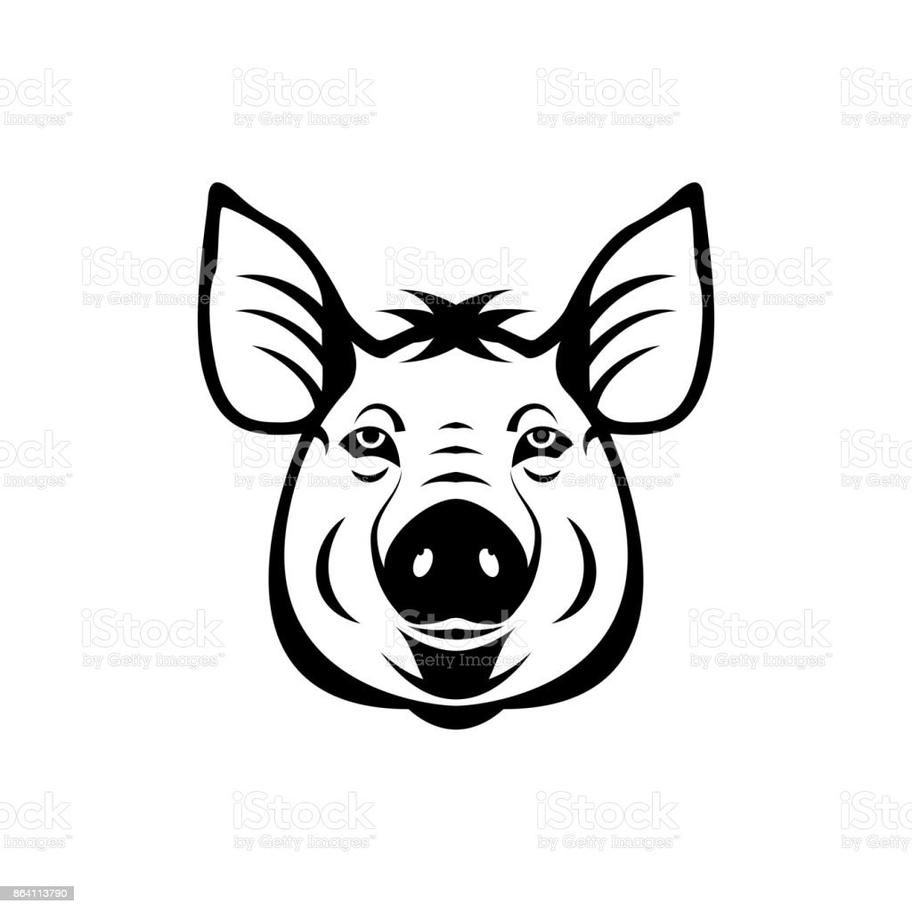 Vector pig head, face  for retro logos, emblems, badges, labels template and t-shirt vintage design element. Isolated on white background royalty-free vector pig head face for retro logos emblems badges labels template and tshirt vintage design element isolated on white background stock vector art & more images of abstract