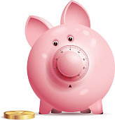 Pink piggy bank with lock.