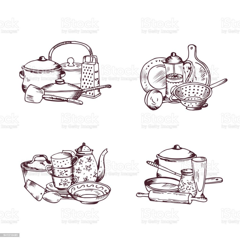 Ilustración de Montones De Vector De Conjunto De Utensilios De ...