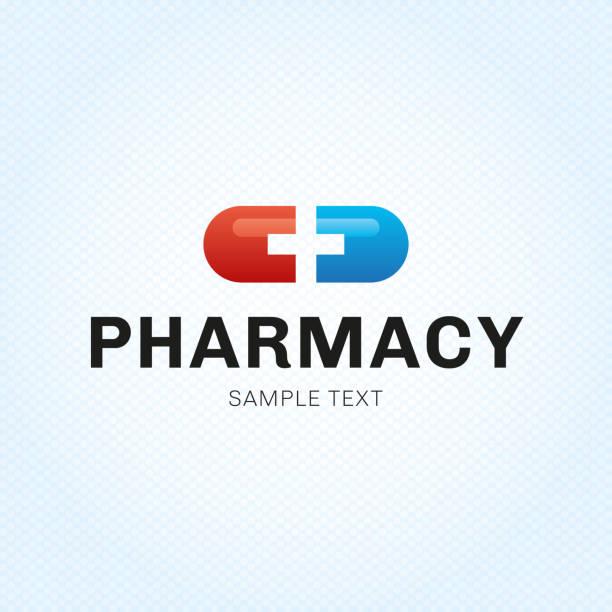 illustrazioni stock, clip art, cartoni animati e icone di tendenza di modello di simbolo vector pill plus - farmacia