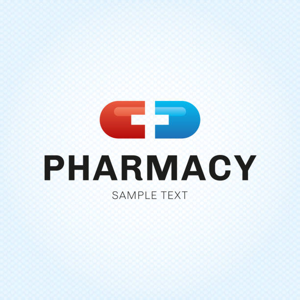 Vector Pill Plus Symbol Template Pill plus Symbol design template. Vector medical tablet Symboltype illustration background. Graphic pilule with cross label symbol for pharmacy, hospital. Blue and red health care capsule icon emblem pharmacy stock illustrations