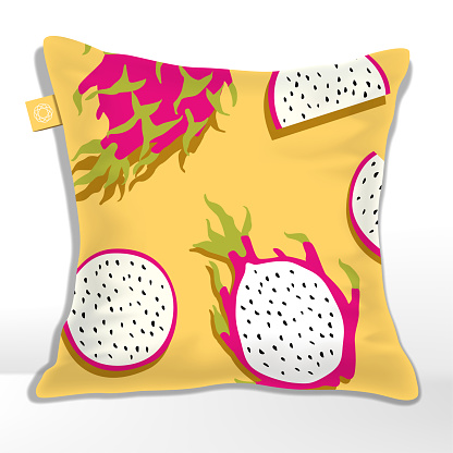 Vector Pillow or Cushion with  Yellow Pitaya or Dragon Fruit Pattern Printed