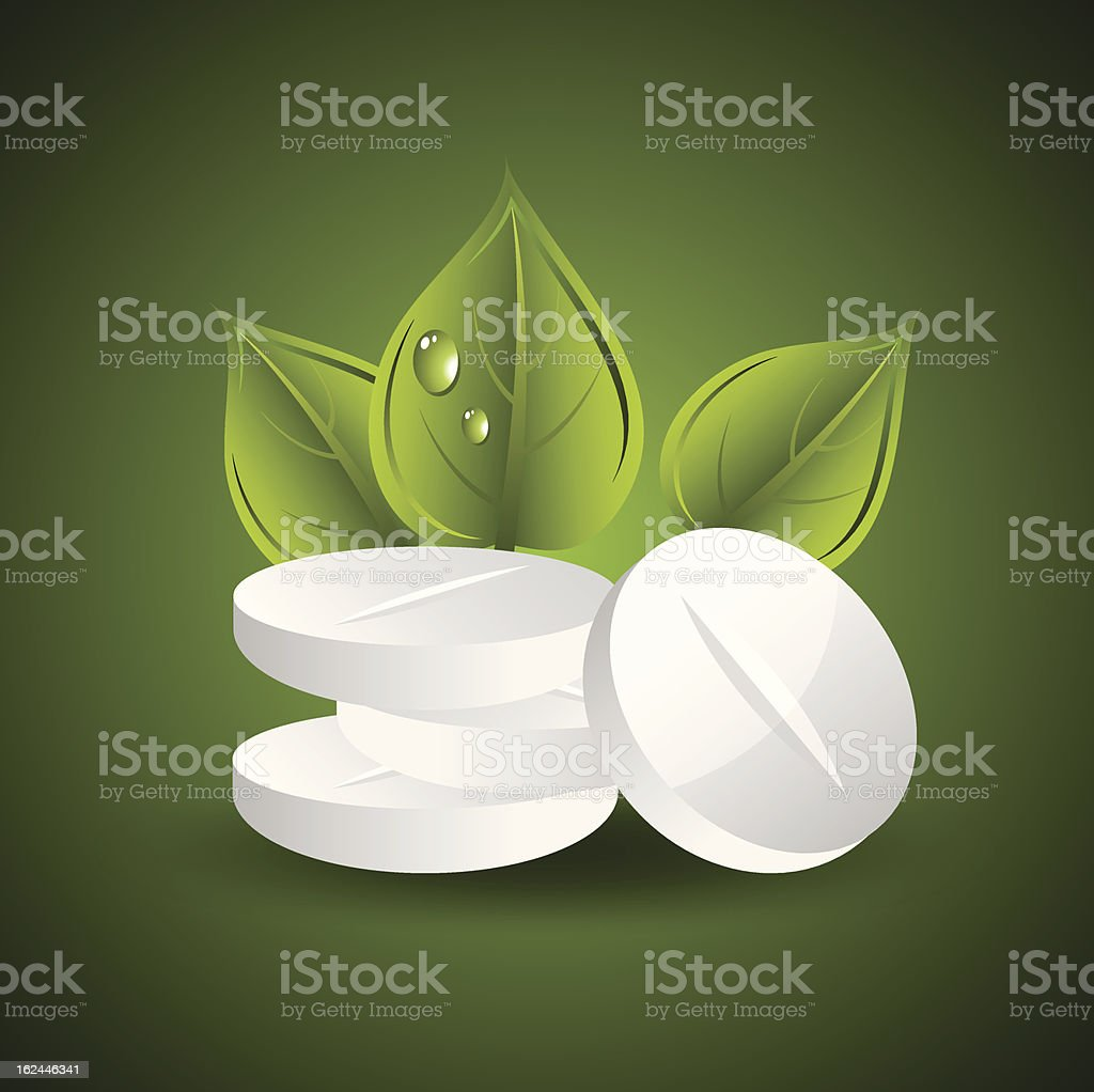 vector pills and leaves royalty-free stock vector art