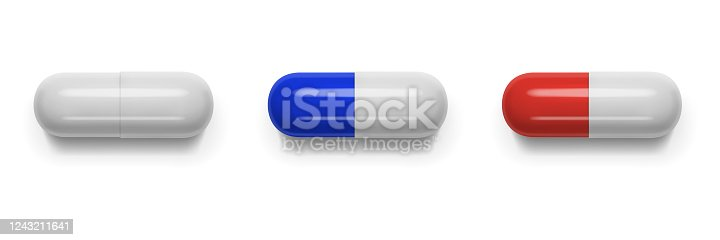 Vector realistic image of tablets (pills, vitamins) of oval shape. EPS 10.