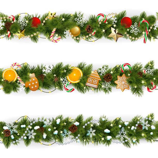 bildbanksillustrationer, clip art samt tecknat material och ikoner med vector pine jul gränsen - christmas frame