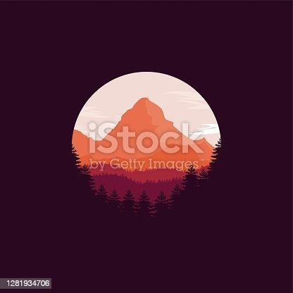 Vector Pine Forests Vintage Badge Style.