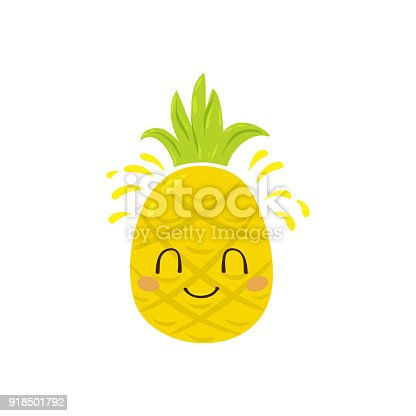 Vector illustration, cute pineapple character with a nice smile