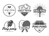 Vector ping pong logos. Set of table tennis badges for tournament, championship or tennis club. Labels with rackets, balls and equipment