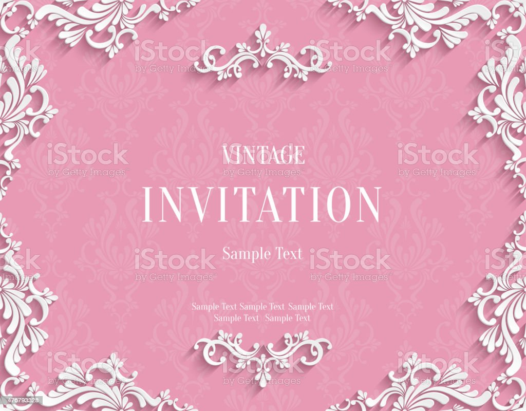 Vector pink 3d vintage invitation card with floral damask pattern vector pink 3d vintage invitation card with floral damask pattern royalty free vector pink 3d stopboris Images