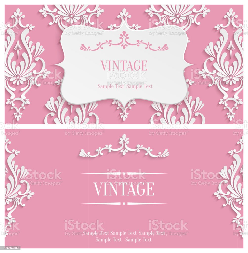 Vector pink 3d vintage invitation template with floral damask vector pink 3d vintage invitation template with floral damask pattern royalty free vector pink 3d stopboris Images
