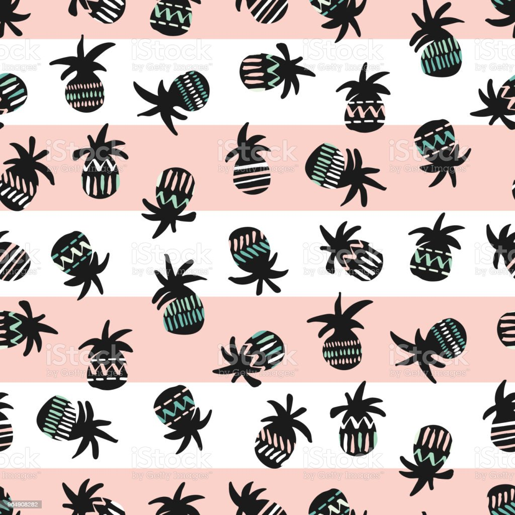 Vector pink and black pineapples on striped pink and white background seamless pattern royalty-free vector pink and black pineapples on striped pink and white background seamless pattern stock vector art & more images of abstract