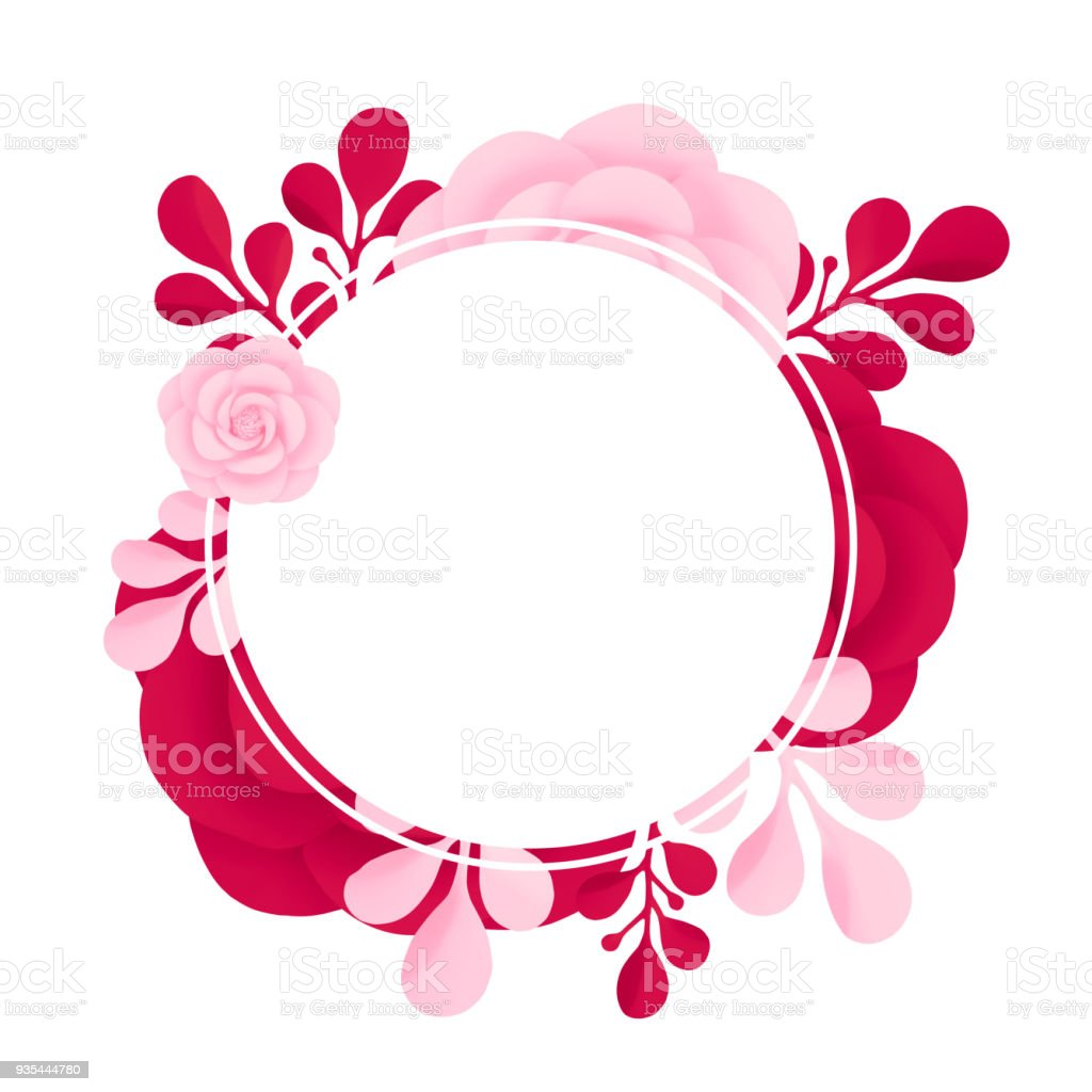 Vector Pink And Red Painted Flowers With Round Frame Isolated On ...
