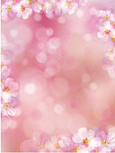Vector  pink, bokeh, floral  background, blossoming sakura tree, blurred effect.