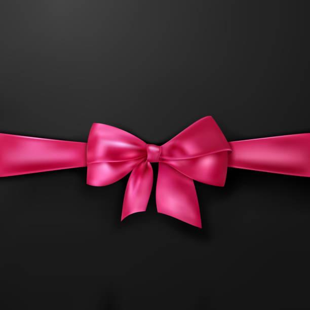 Vektor rosa Schleife auf schwarzem Hintergrund – Vektorgrafik