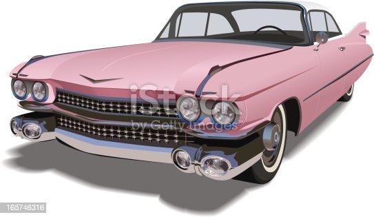 A classic 1959-1964 pink Cadillac Coupe de Ville.