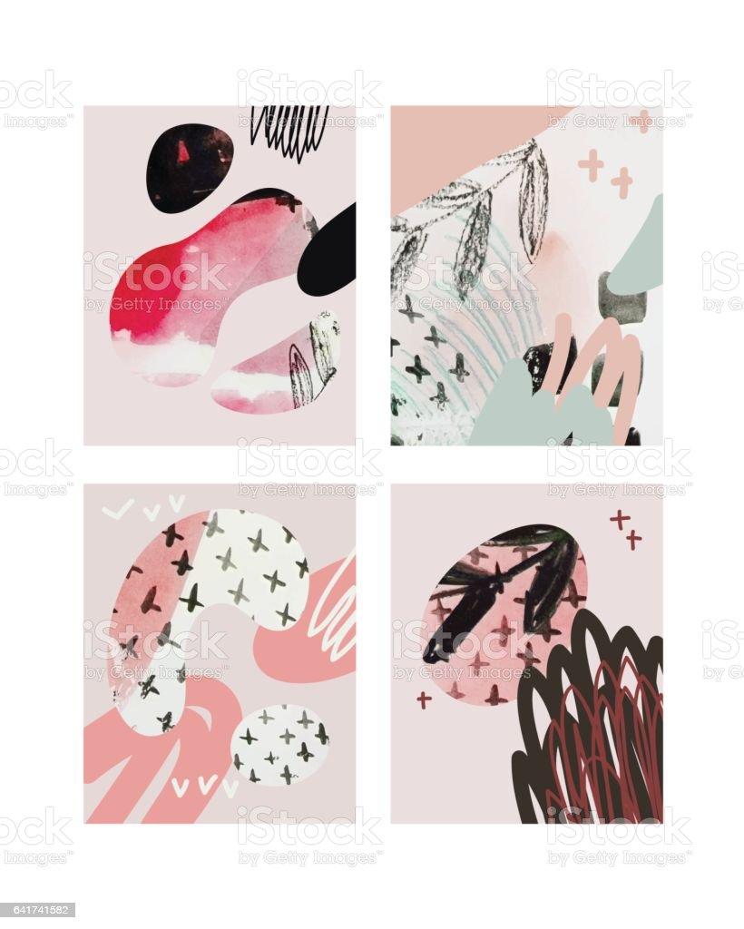Vector Pink Contemporary Greeting Card Set Hand Drawn Watercolor ...