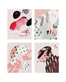 Vector pink contemporary greeting card set. Hand drawn watercolor abstract template for business, birthday, anniversary, wedding, party invitation, holidays.
