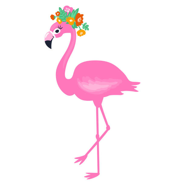 Cute Summer Card With Tropical Palm Leaves And Flamingo ...