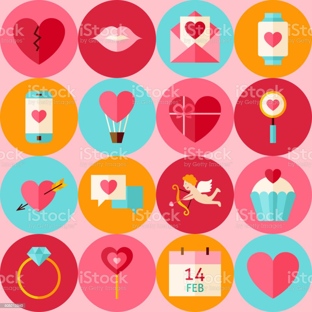 Vector Pink Flat Valentine Day Seamless Pattern with Circles vector art illustration