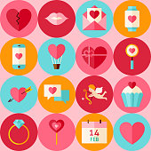 Vector Pink Flat Valentine Day Seamless Pattern with Circles