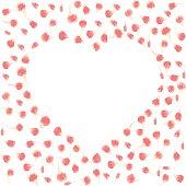 Vector pink flower petals in shape of heart.