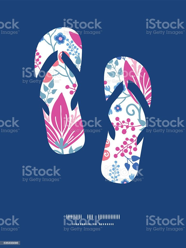 Vector Pink Flowers Flip Flops Silhouettes Pattern Frame Stock