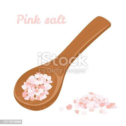 Sal del Himalaya rosa vectorial en cuchara y montón de madera. Ilustración plana de dibujos animados. Alimentos orgánicos.