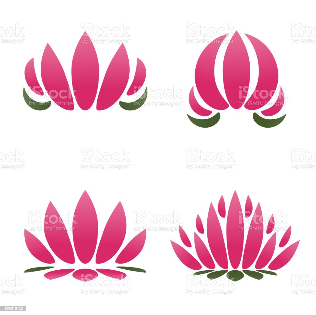 Vector Pink Lotus Flower Symbol Or Icon Templatebuddhism And Modern