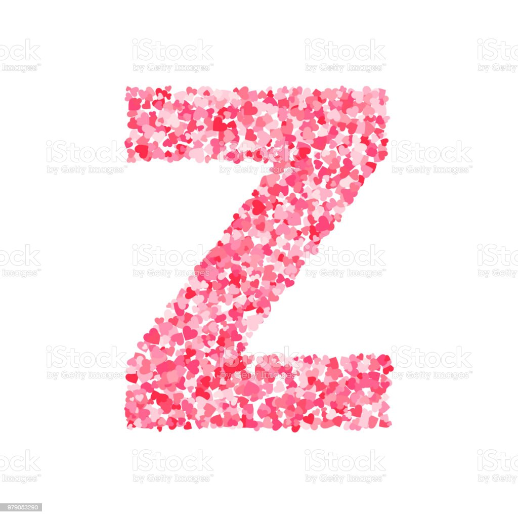 Vector Pink Red Valentines Day Heartshapes Font Letter Z Stock ...
