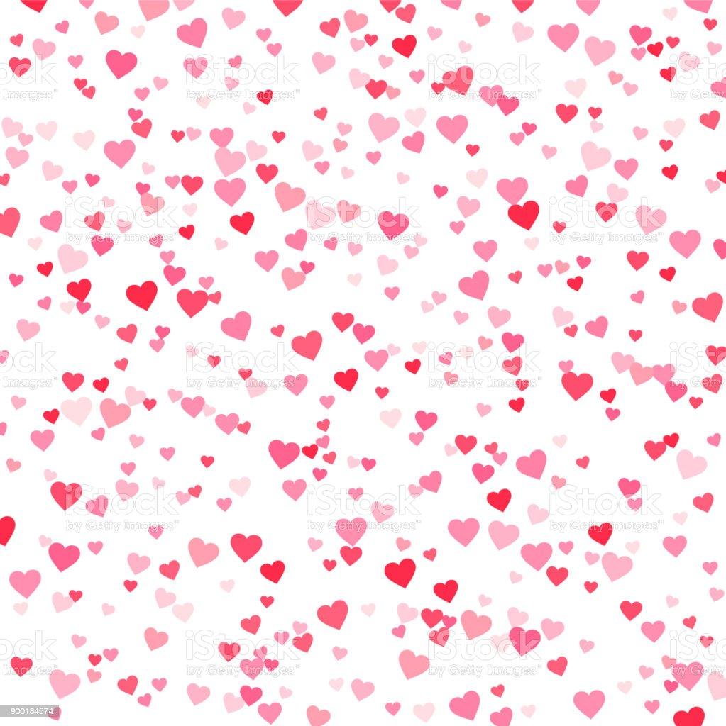 Vector pink & red Valentines Days hearts background - ilustração de arte vetorial