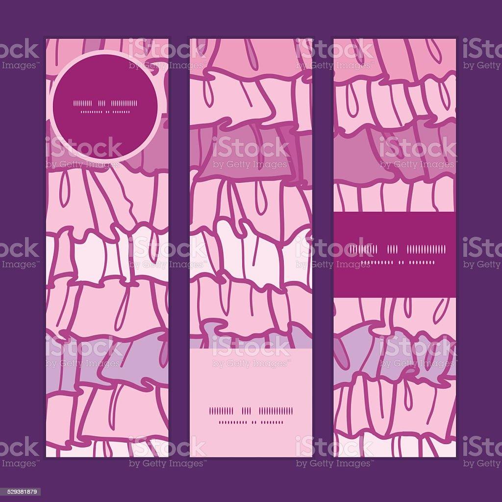 Vettore Rosa Tessuto A Righe Con Gale Banner Verticale Set Di Sfondo