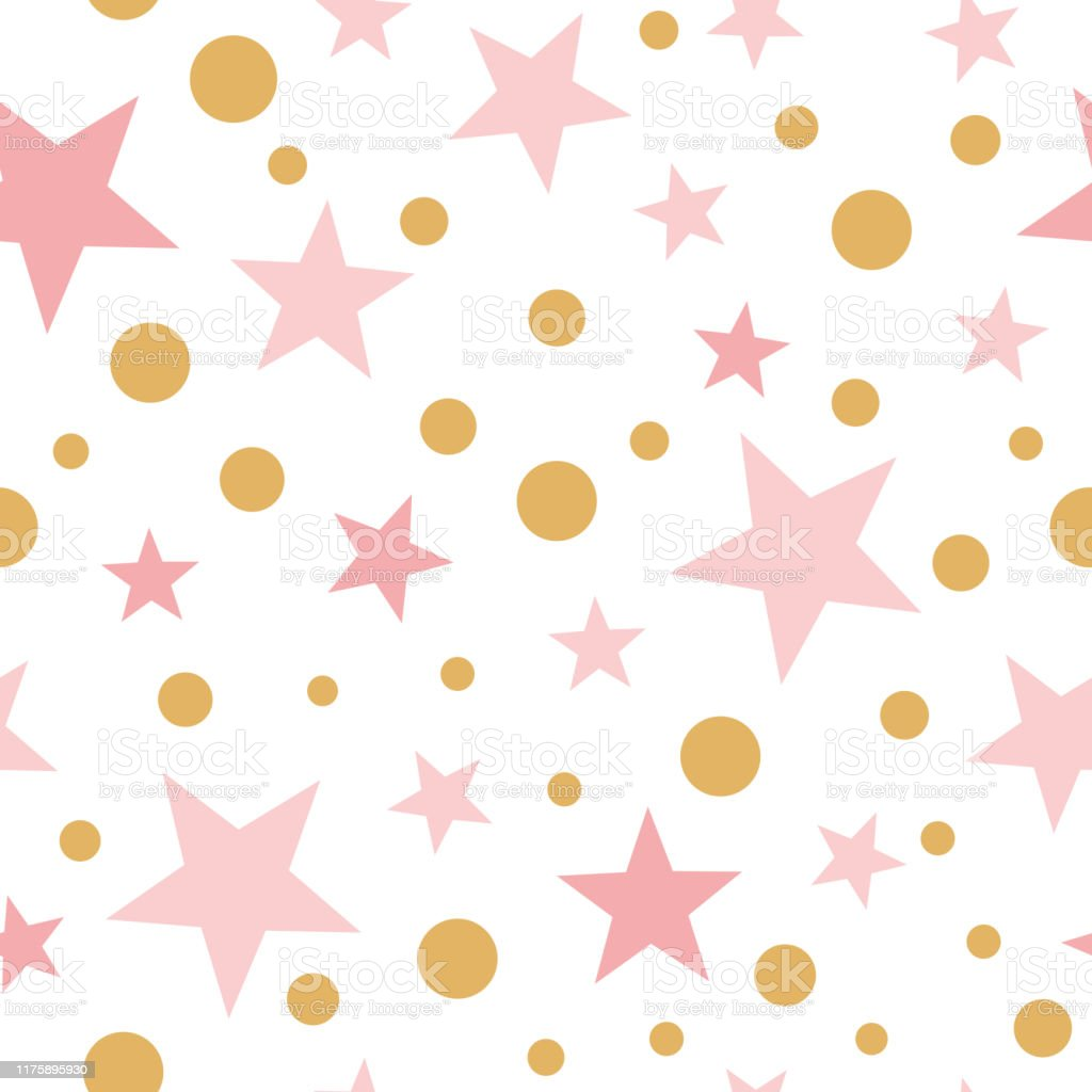 Vector Pink Seamless Pattern Gold Stars Pink Background Baby Shower Sweet Pink Wallpaper For Baby Girl Stock Illustration Download Image Now Istock