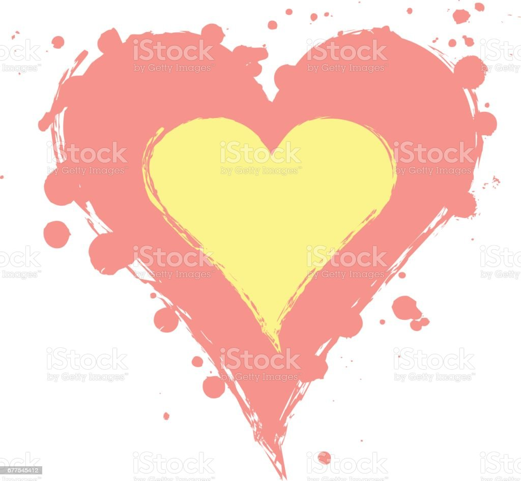 Vector pink, yellow graphic grunge illustration of heart sign with ink blot, brush strokes, drops isolated on the white background. Series of artistic illustration with splash, blots and brush strokes royalty-free vector pink yellow graphic grunge illustration of heart sign with ink blot brush strokes drops isolated on the white background series of artistic illustration with splash blots and brush strokes stock vector art & more images of art