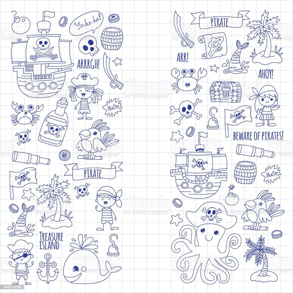 Ilustración de Fiesta Pirata Para Niños Kinder Kids Niños Dibujo ...