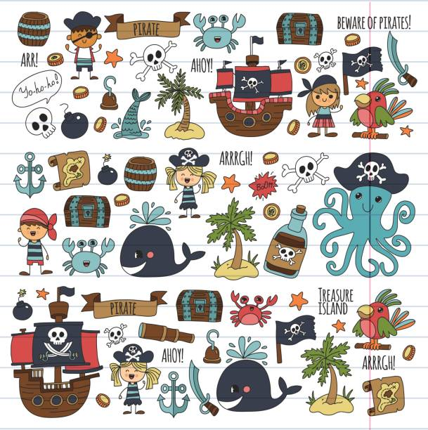 Vector pirates Children cartoon illustration Kids drawing style for kids party in pirate style Octopus, pirate ship, sailor, boy, girl, treasure island vector art illustration