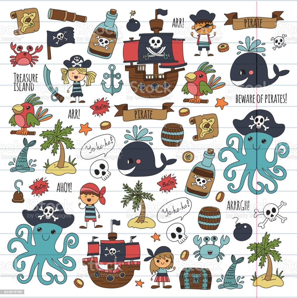vector pirates children cartoon illustration kids drawing style