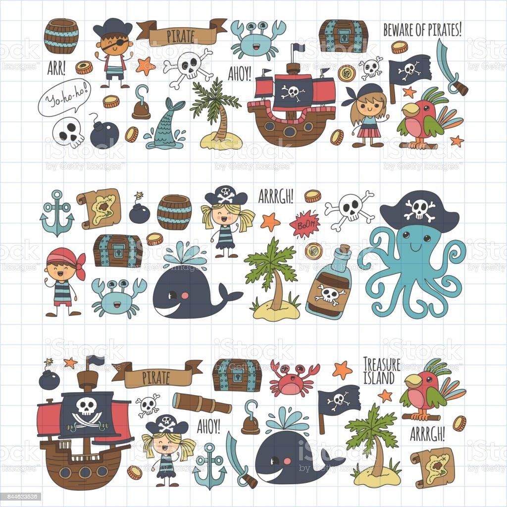 Vector pirates children cartoon illustration kids drawing - Todo sobre barcos ...