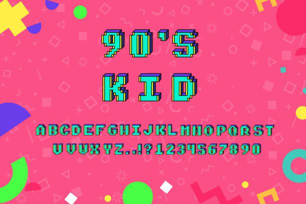 vector pixel alphabet - 1990s style stock illustrations
