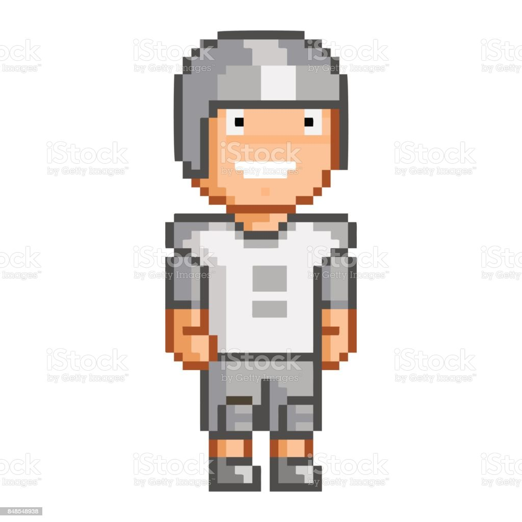Vector Pixel Art American Football Player Stock Illustration