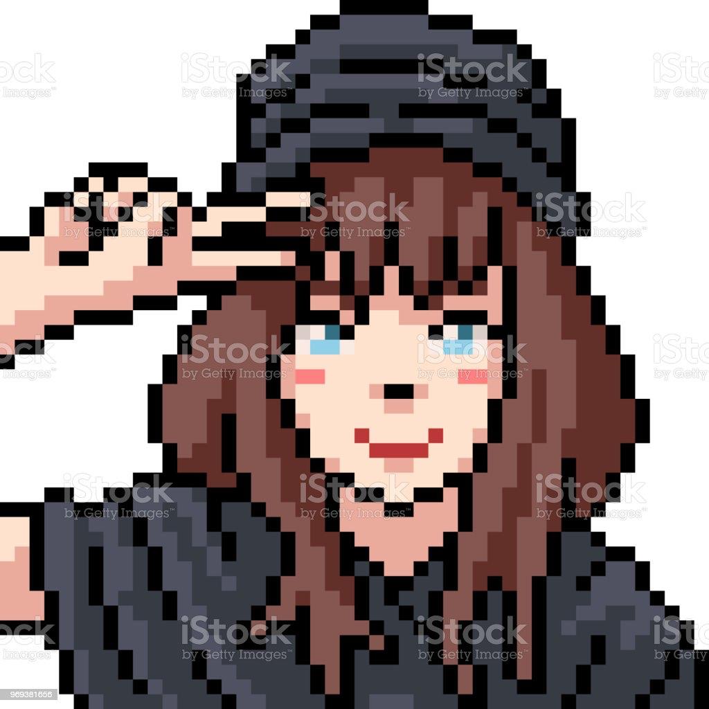 Vector Pixel Art Anime Girl Isolated Cartoon Stock