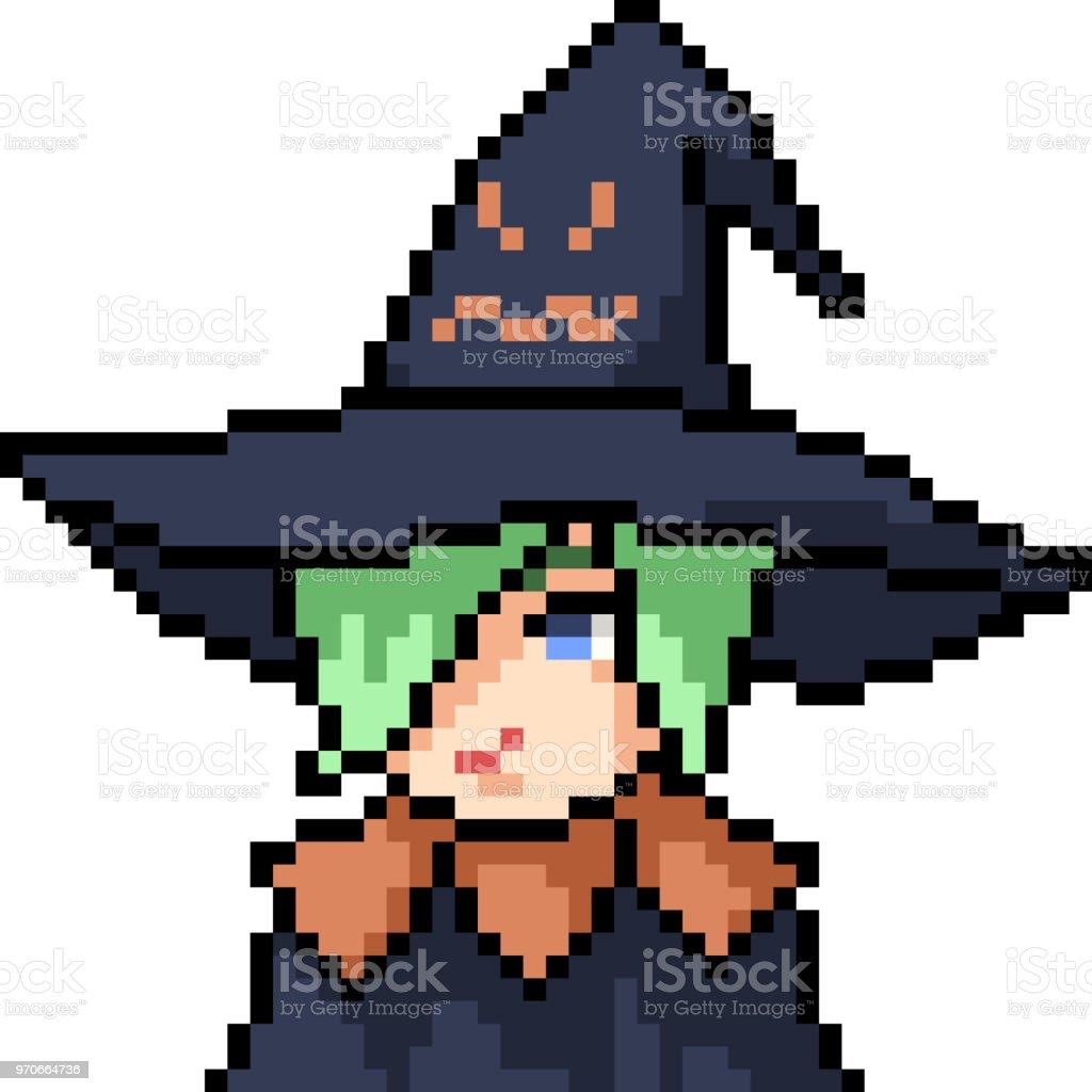 vector pixel art anime girl isolated cartoon vector art illustration