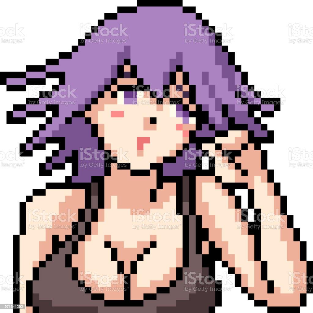 Vector Pixel Art Anime Fille Isolé Dessin Animé Vecteurs